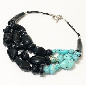 Chico's • Sabra Turquoise & Black Beaded Necklace